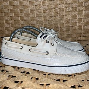 Sperry top sider ivory sequin boat shoe